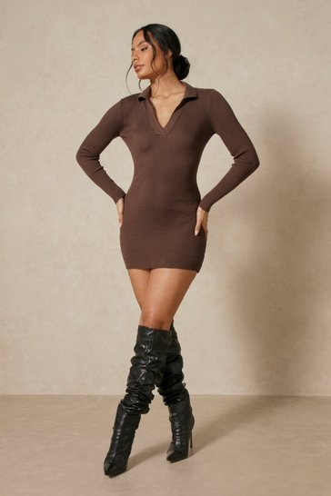 Chocolate Tia Knitted Collared Long Sleeve  Mini Dress