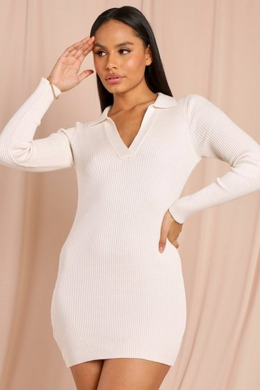 Cream Tia Knitted Collared Long Sleeve  Mini Dress