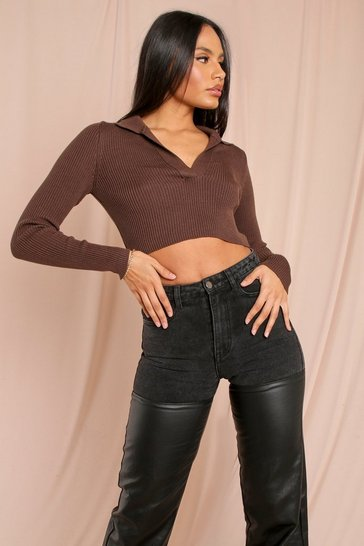 Chocolate Tia Knitted Collared Long Sleeve Crop Top