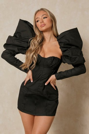 Black Poplin Extreme Puff Sleeve Corset Mini Dress