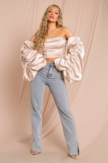 Champagne Satin Extreme Puff Sleeve Corset Crop Top