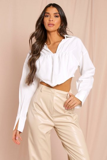 White Poplin Cropped Corset Shirt