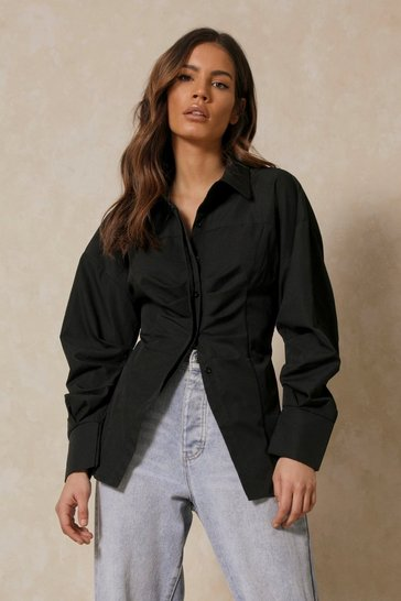 Black Poplin Structured Waist Pleated Shirt
