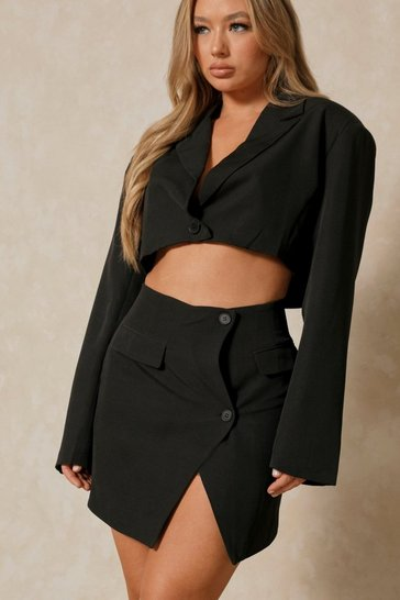 Black Extreme Shoulder Pad Cropped Blazer