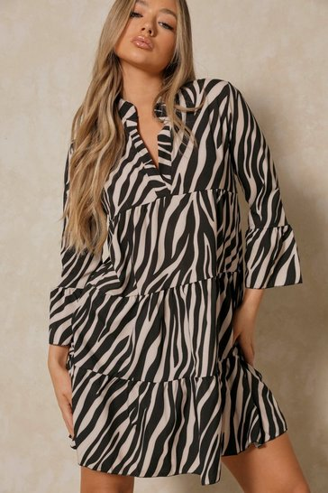 Black Zebra Print Smock Dress