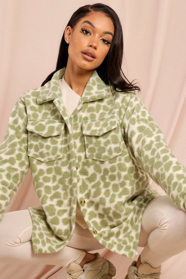 Green Leopard Print Shacket