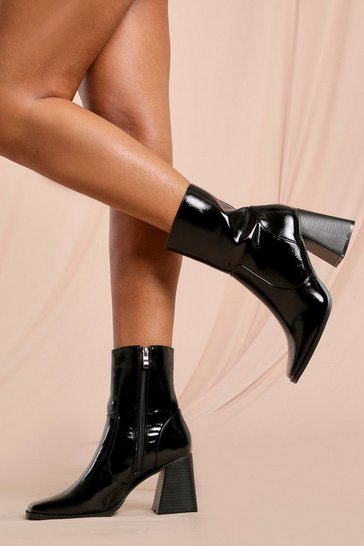 Black Croc Flared Heel Ankle Boot