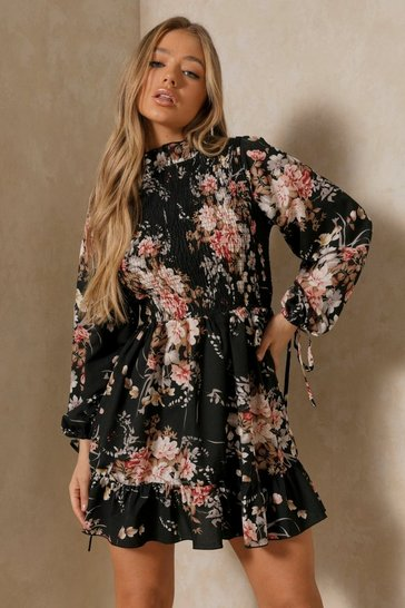Black Floral High Neck Shirred Smock Dress