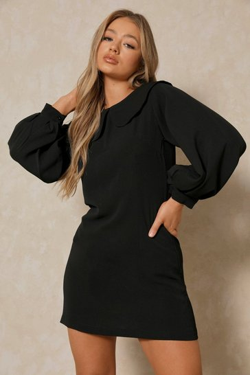 Black Peter Pan Collar Smock Dress