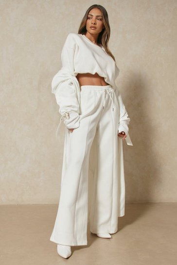 Ivory Neoprene Wide Leg Pin Tuck Detail Jogger