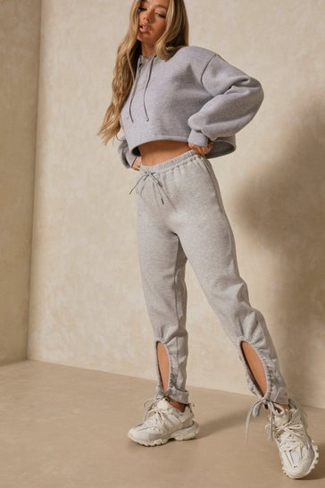 Grey Neoprene Ruched Ankle Detail Jogger