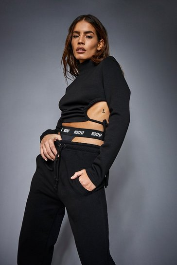 Black Neoprene Ruched Side Detail Cropped Top
