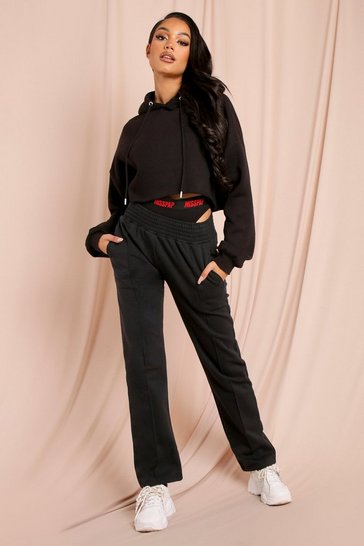 Black Slim Leg Pin Tuck Shirred Waist Jogger