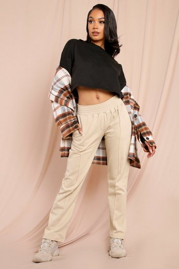 Stone Slim Leg Pin Tuck Shirred Waist Jogger