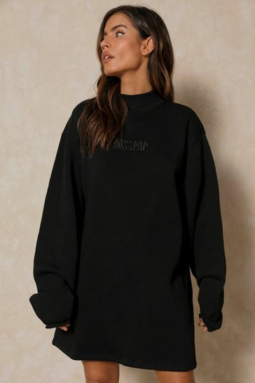 Black MISSPAP BRANDED HIGH NECK SWEATSHIRT DRESS