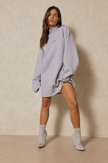 Grey MISSPAP BRANDED HIGH NECK SWEATSHIRT DRESS