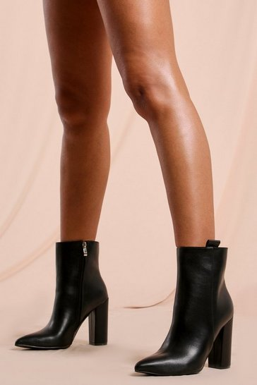 Black Pointed Heeled Ankle Boot