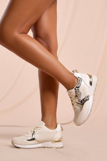 Nude Animal Print Detail Sneakers