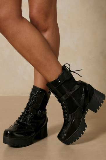 Black Snake Detail Chunky Sole Lace Up Boot