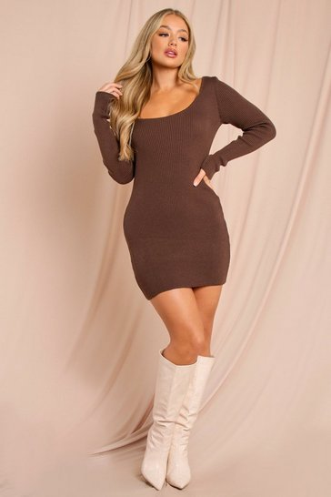 Chocolate Knitted Scoop Neck Long Sleeve Mini Dress