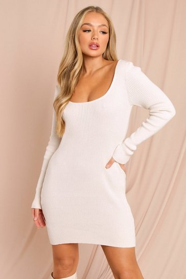 Cream Knitted Scoop Neck Long Sleeve Mini Dress