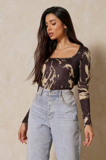 Black Printed Soft Touch Square Neck Bodysuit