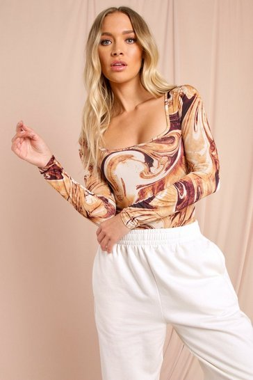 Brown Printed Soft Touch Square Neck Bodysuit
