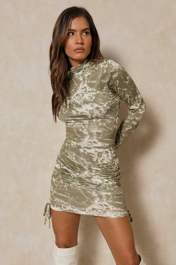 Green Marble Print Side Ruched Turtle Neck Mini Dress