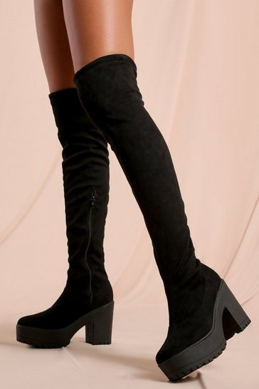 Black Cleated Over The Knee Boots