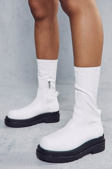 White Stretch Chunky Ankle Boots