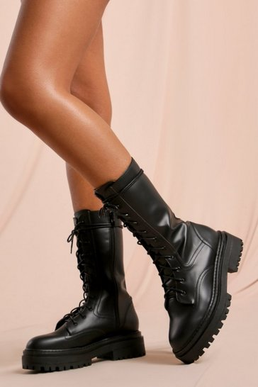 Black Leather Look Calf High Lace Up Boots