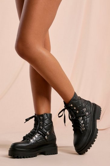 Black Croc and Quilted Detail Lace Up Ankle Boots