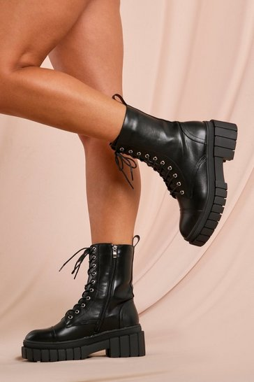 Black Chunky Lace Up Scuba Detail Ankle Boots