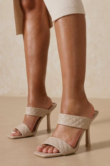 Nude Quilted Square Toe Heeled Mules