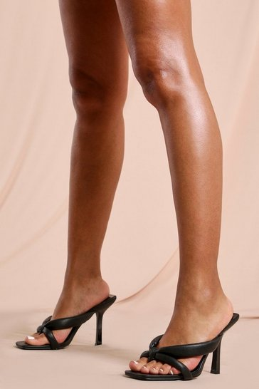 Black Cross Over Square Toe Heels