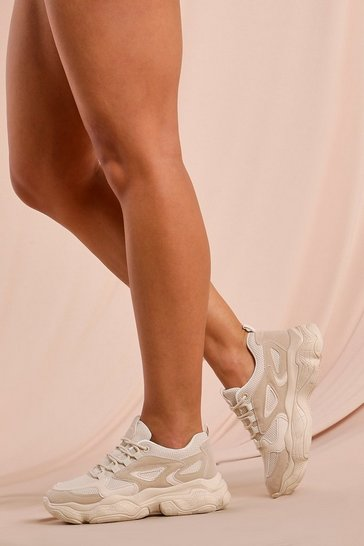 Beige Mesh Detail Chunky Trainers