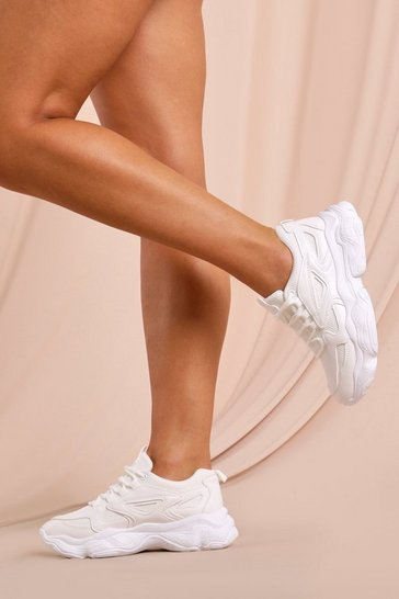 White Mesh Detail Chunky Sneakers