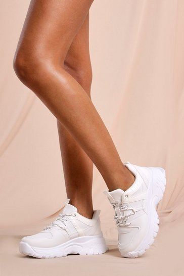 White Croc Detail Shunky Sneakers