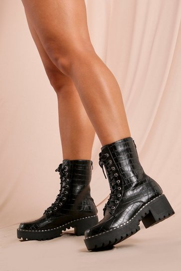 Black Croc Stud Detail Chunky Ankle Boot