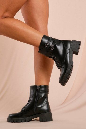 Black Leather Look Buckle Detail Lace Up Ankle Boot