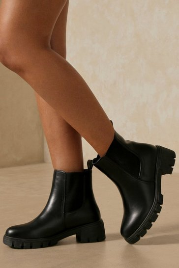 Black Leather Look Chunky Sole Chelsea Ankle Boot