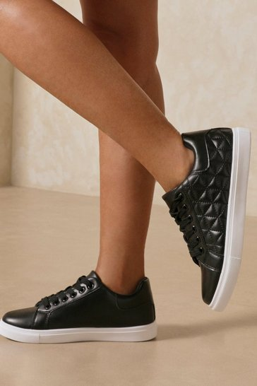 Black Leather Look Quilted Trainer