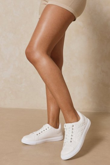 White Leather Look Quilted Trainer
