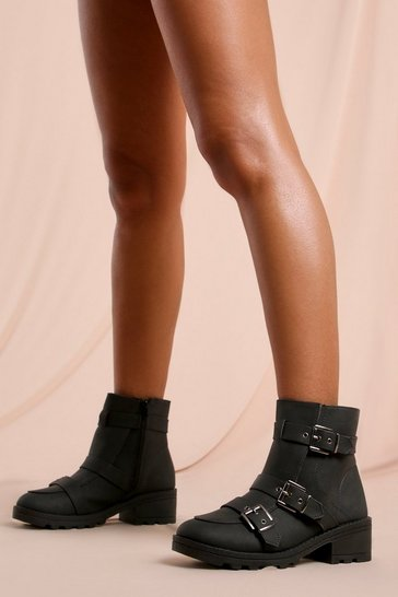 Black Triple Buckle Detail Ankle Boot