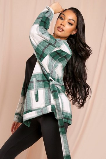 Green Wool Check Belted Jacket