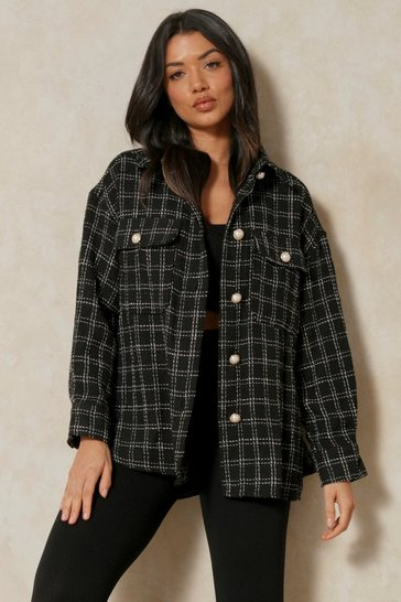 Black Tweed Check Oversized Shacket With Pearl Buttons