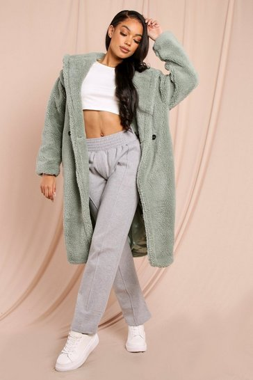 Sage Long Line Hooded Teddy Fur Coat