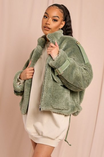 Green Teddy Fur Oversized Utility Jacket