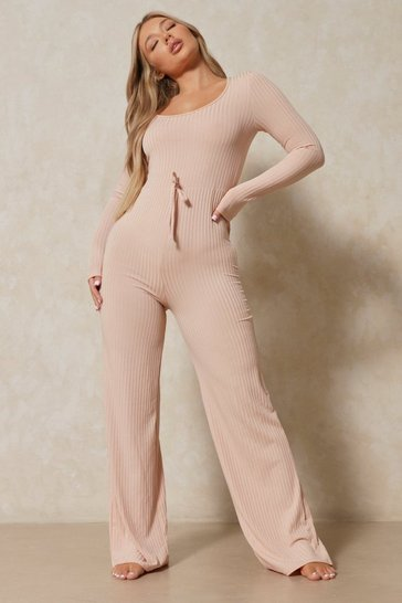 Nude Ribbed Scoop Neck Wide Leg Jumpsuit