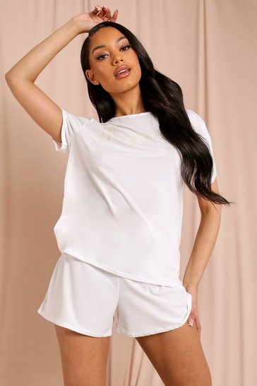Cream Sunday Slogan Short Sleeve Shorts PJ Set